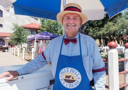 "Paul O'Flaherty of Weatherford, Texas, is the ""Blue Bell (ice cream) Man"" in the Stockyards District of Fort Worth, Texas."